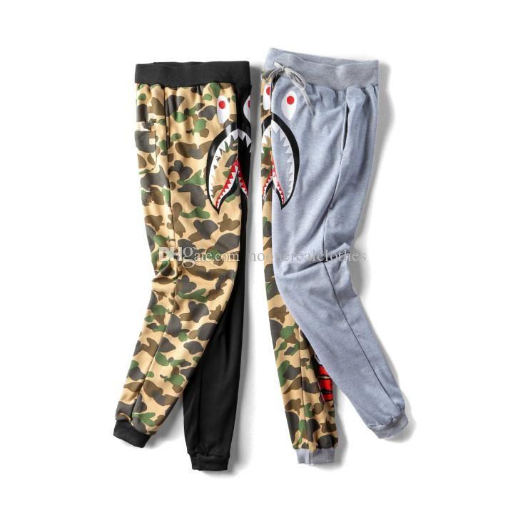 Mens wommen Liebhaber Sportswear Pants Jogger Anzug Causel Camouflage Schwarz Hip Hop Männer Shark Mund Lässige Hosen näht