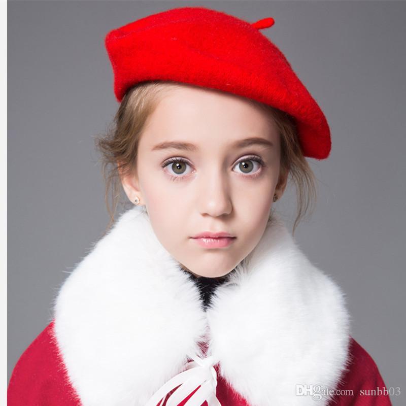 New Autumn Baby Girls Wool Berets Hat Cap Children Painters' Hats Candy Color Princess Hat 15195