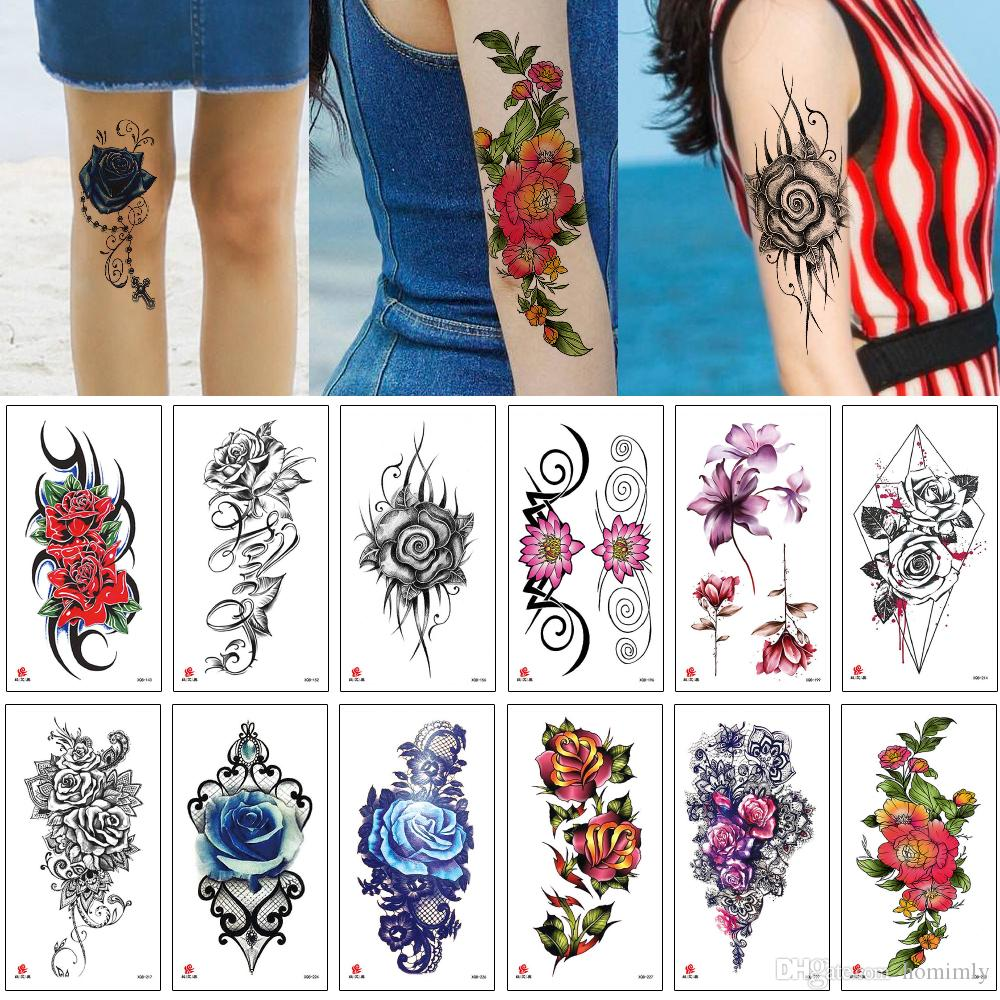 Blooming Flower Tattoo Sticker Colorful 3D Design Waterproof Water Transfer Paper Decal Temporary Body Makeup Woman Girls Tattoo Arm Sleeves