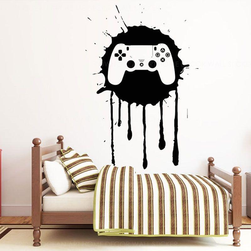 Wall Sticker Creative Design controller di gioco vinile Home Decor per la camera da letto bambine ragazzi Gaming decalcomanie della stanza Interni murale