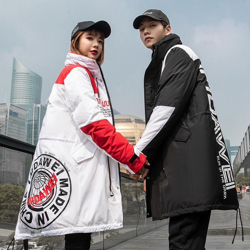 Вниз куртка Женская средней длины 2019 Новая зима корейской моды Темперамент талии Инструментальное Белая утка вниз куртка Mens