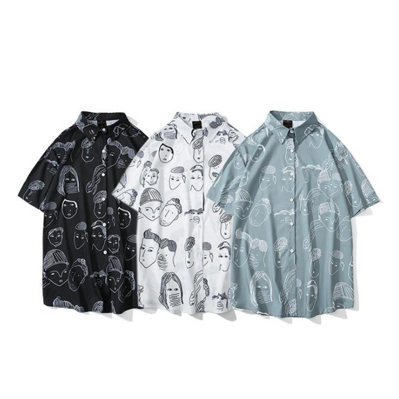 Shirt di moda estate del risvolto Stampa in cotone manica corta maschile camicia Harajuku Hip Hop camice Mens camicetta superiore