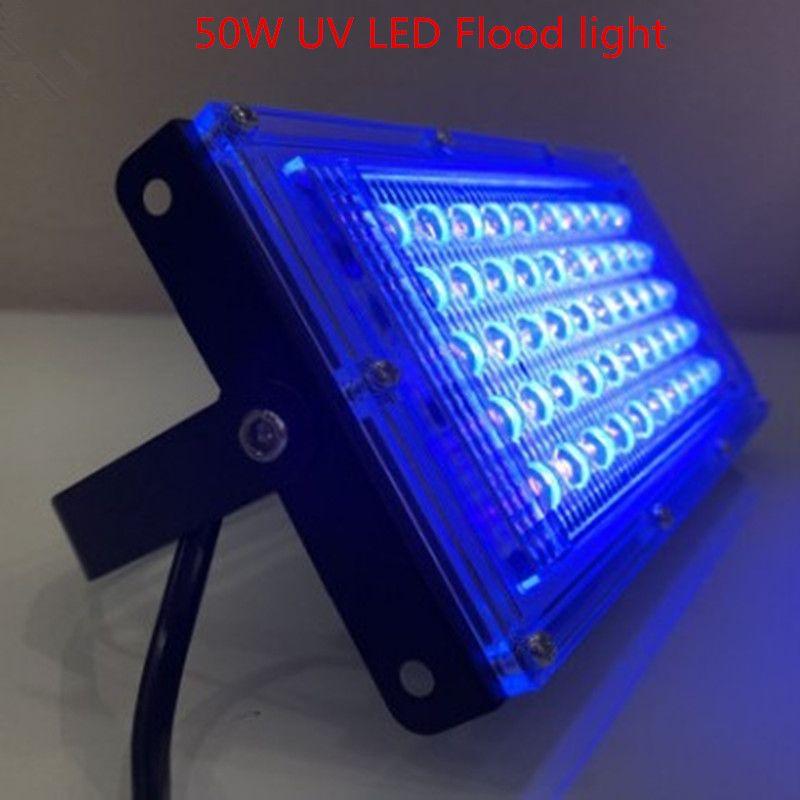 50W LED UVC 살균 램프 홍수 빛 110V 220V 스포트 라이트 투광 조명 야외 정원 벽 램프 거리 LED 반사경 주조 빛