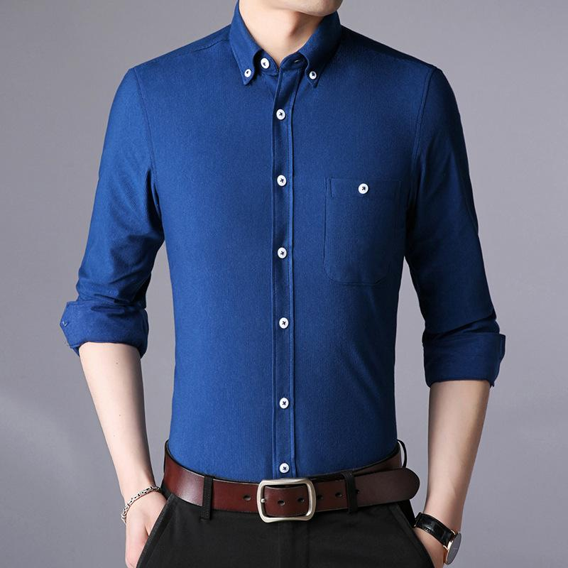 2019 Autumn Men Shirt Long Sleeves British Style Lapel Collar Solid Color Slim Cotton Blends Casual Free Shipping
