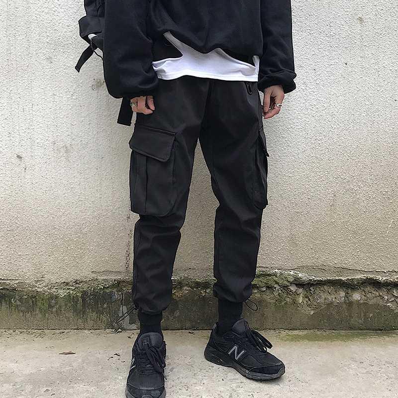 Мужчины Япония Streetwear бегуны Брюки 2020 Комбинезоны мужских Hip Hop штаны Мужской Моды потовых Black Track