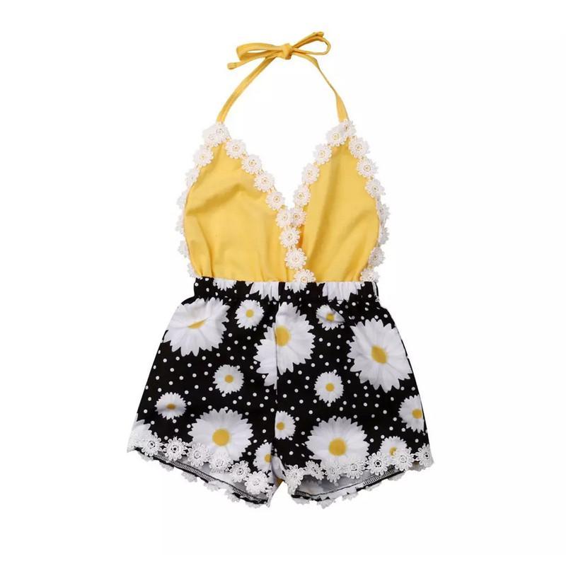 2020 Nouveau Floral Enfants Tout-petit bébé layette Jumpsuit Romper infantile dentelle Halter Romper 6M-3T Drop Shipping