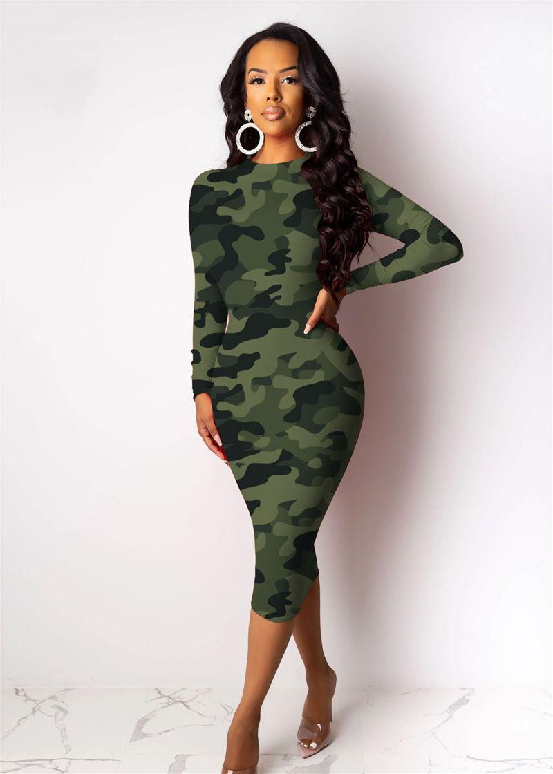 ربيع المرأة نحيل فساتين عادية لون التباين التمويه أزياء السيدات الهيئة غير الرسمية فساتين كم طويل نحيف البلوز أنثى فساتين غمد