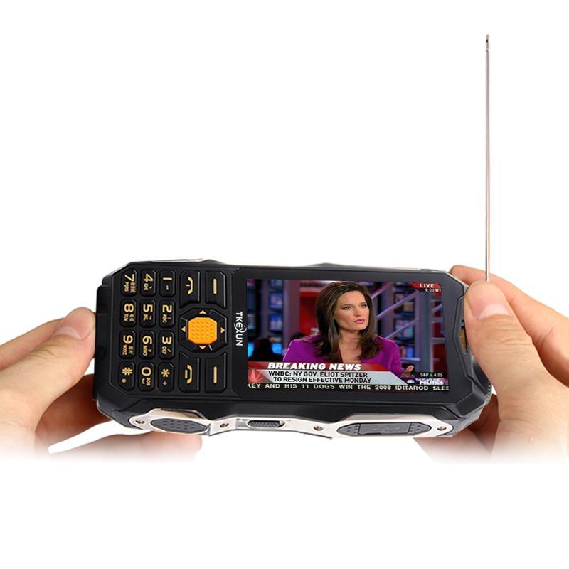 New Unlocked LED Flashlight Dustproof mobile phone 4700mAh Dual sim card Torch Long Standby 3.5 inch Power Bank TV FM outdoor cellPhone