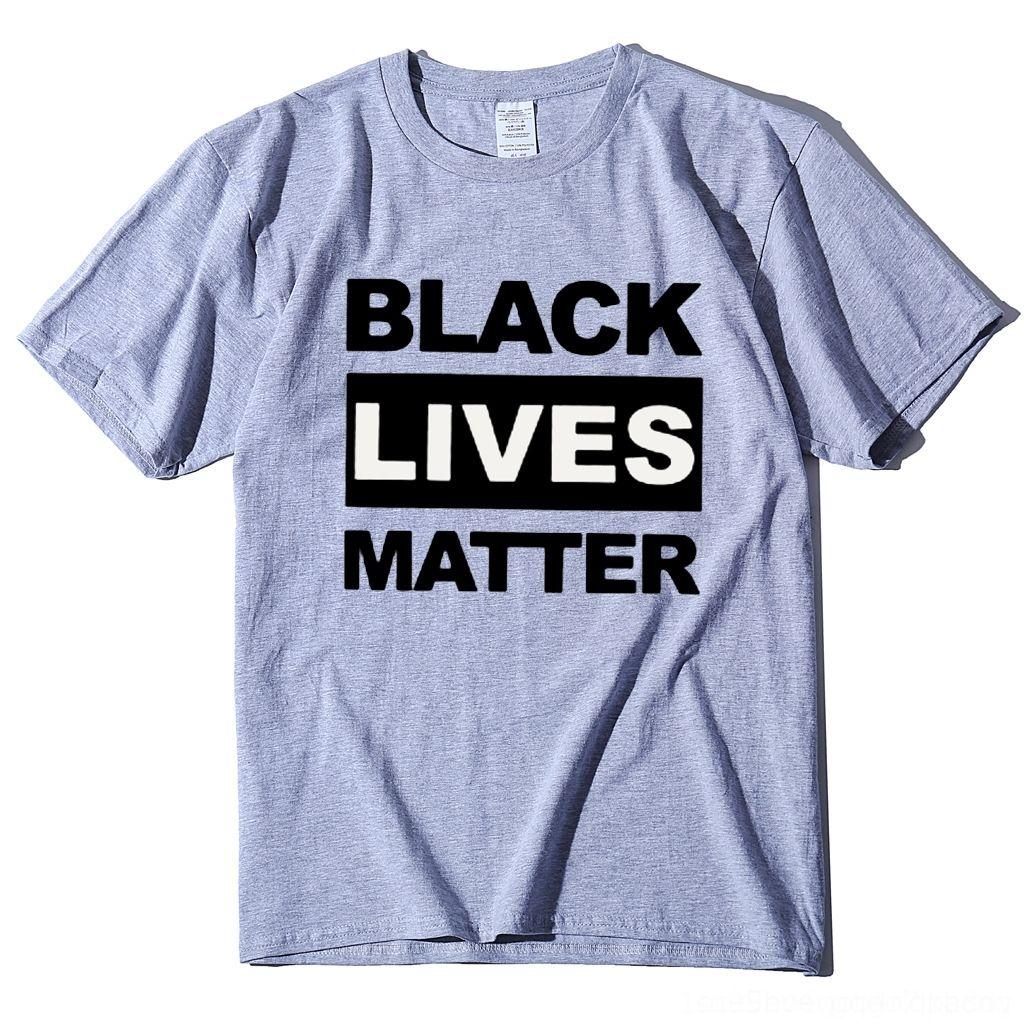 Taille OYojh Je ne peux pas respirer T-shirt noir la nouvelle matière Lettre vit T-shirt d'été Top 100% coton pour hommes eurovêtement le racisme