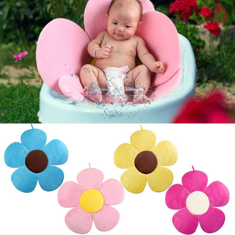 Flower Pad Baby Bath Tub Pillow Baby Bathing Seat Sink Shower Pink Fast ship US
