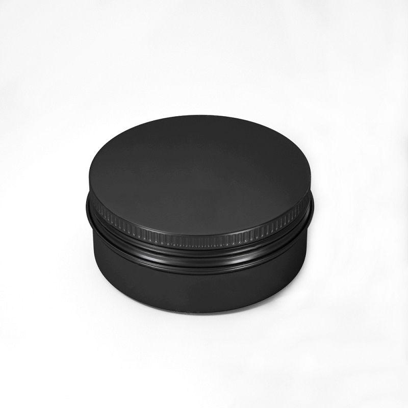 إفراغ الألومنيوم مستحضرات التجميل الحاويات وعاء بلسم الشفاه جرة تين لكريم مرهم كريم اليد تغليف صندوق 10-15-20-30-50-60-80-100-150ml (أسود)