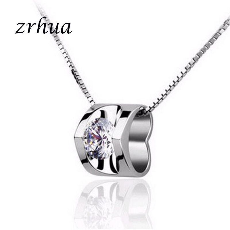 ZRHUA стерлингового серебра 925 пробы кулон ожерелье блестящий кубический цирконий сердце колье ожерелья подвески уникальный Серебряный дизайн высший сорт