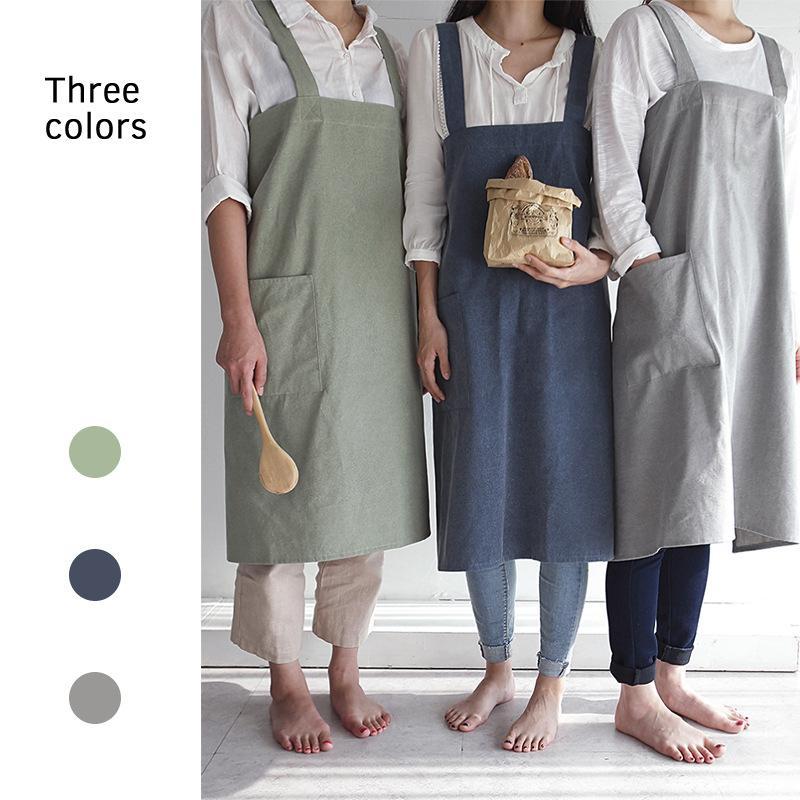 Novo Breve Vento Nórdico Lavado De Linho De Algodão Cozinha Avental Da Cozinha para a Mulher Loja de Flores Smock Bib Strap Dress