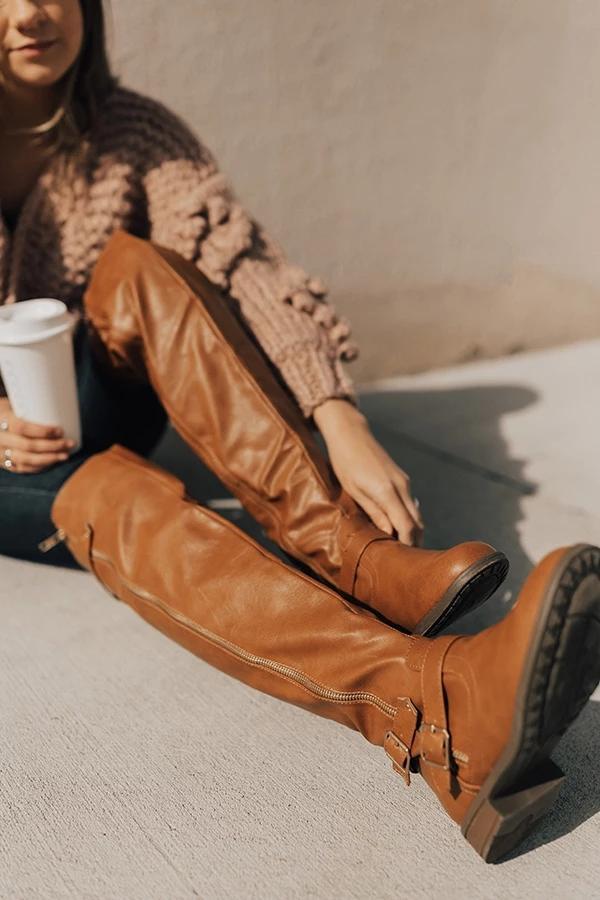 Sıcak Satış-Kadın Ayakkabı Sahte Deri Diz Yüksek Uzun Çizme Toka Kayış Vintage Binme Boots Artı boyutu Zapatos De Mujer