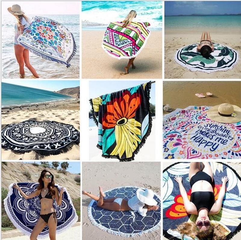 Püskül büyük yuvarlak plaj havlusu bohem tarzı yapay ipek kumaş yeni yaz moda bayanlar püskül plaj havlusu plaj ped baskı ...