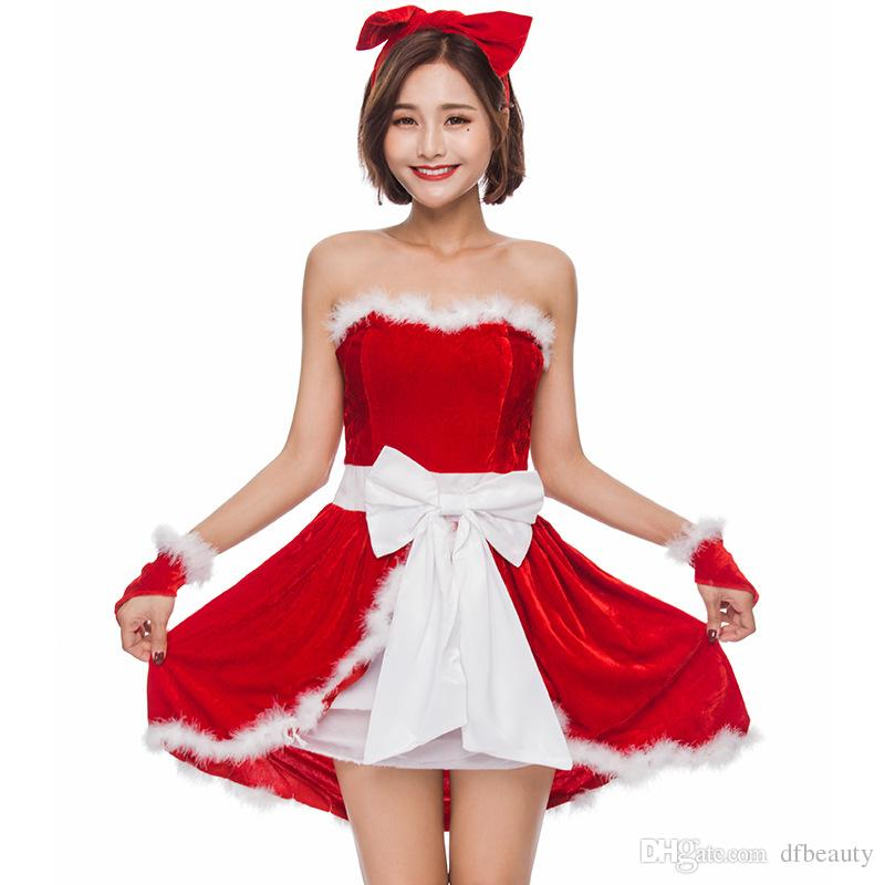 Atacado trajes de Natal Vermelho sem mangas presentes de Natal festa de Natal menina role-playing uniforme vestido headwear / vestido / luvas