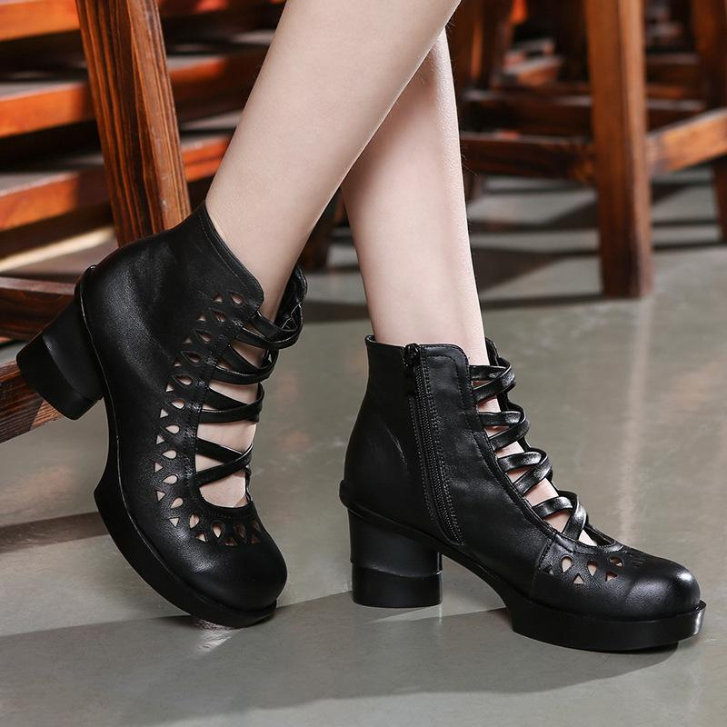1Beauty Nation Wind Genuine Leather Wisp Air Cool Boots Crossing Bandage High Help Woman Sandals Coarse With Baotou Woman Sandals You