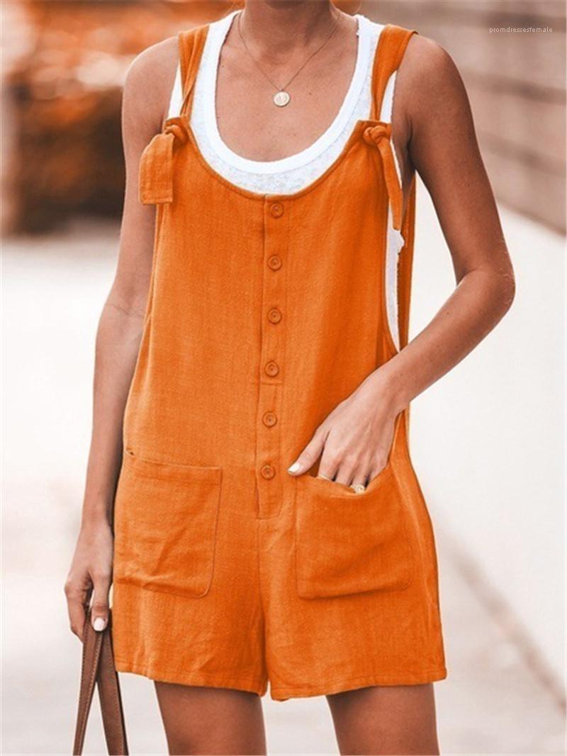 Дизайнер свободные комбинезоны мода натуральный цвет пуговицы комбинезон с карманами Сексуальная камзол спинки короткие комбинезоны Женские