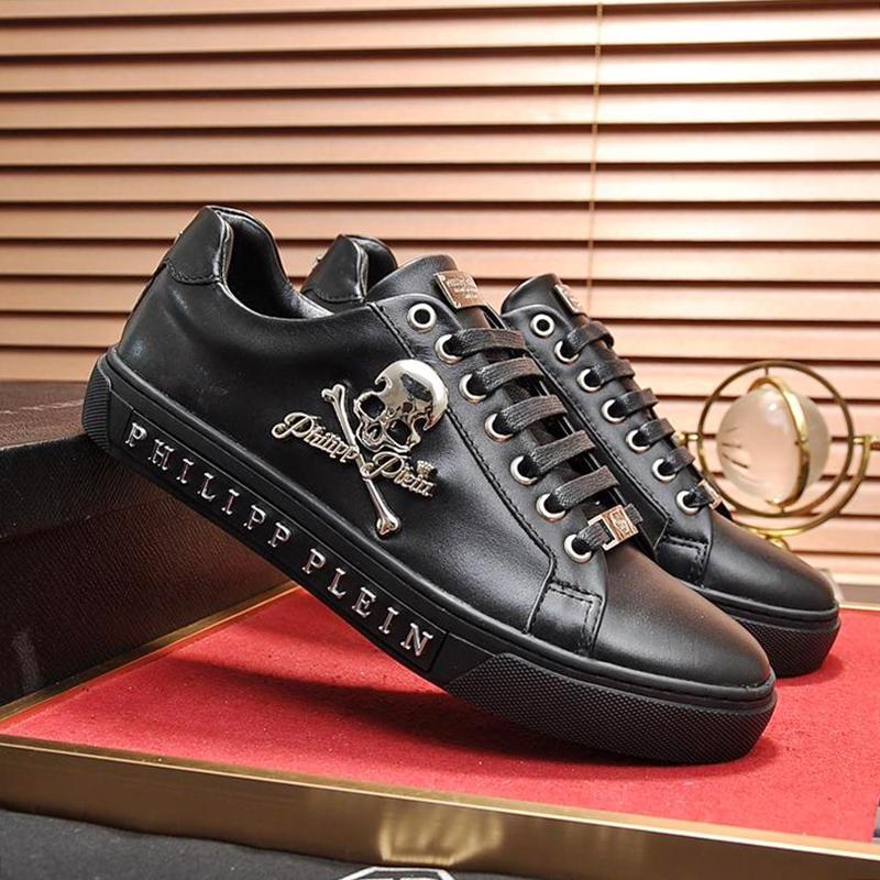 Mode Herren Schuhe mit Originalbox Herren Sportschuhe Chaussures pour hommes Herren Schuhe Leder Große Größen Schnürschuhe Lo-Top Sneakers Skull