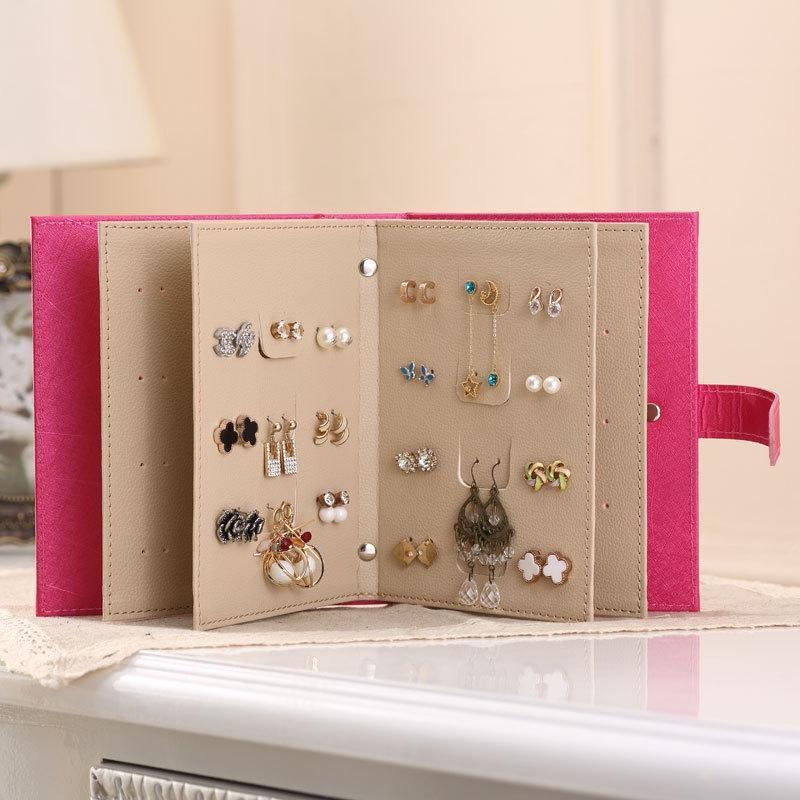 Venta al por mayor Exhibición de la joyería de las mujeres para el libro de almacenamiento pendiente de los pendientes Caja de joyería creativa que lleva el caso