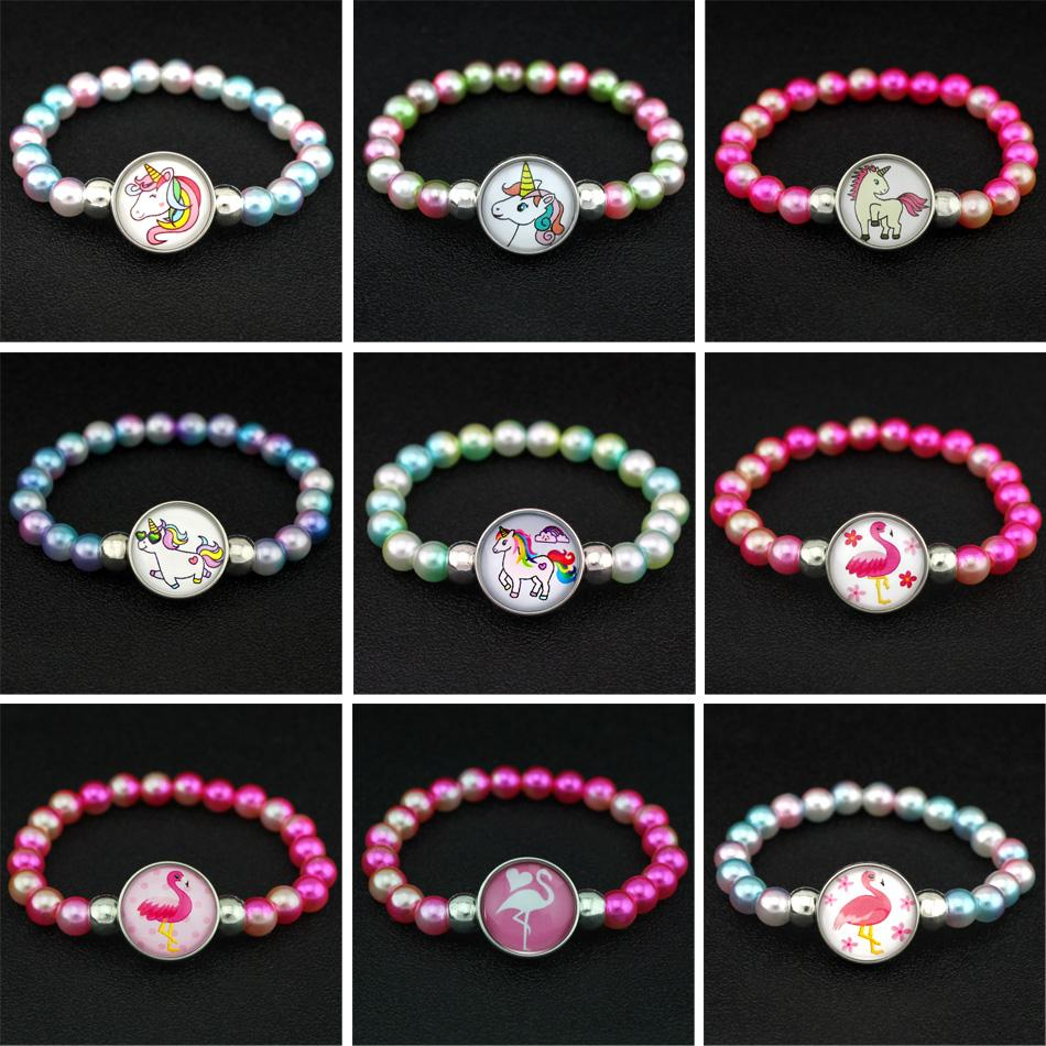 Wholesale New Arrival Unicorn Beads Bracelets 18mm Snap Buttons Dome Cabochon Flamingos Horse Charms Trendy Jewelry