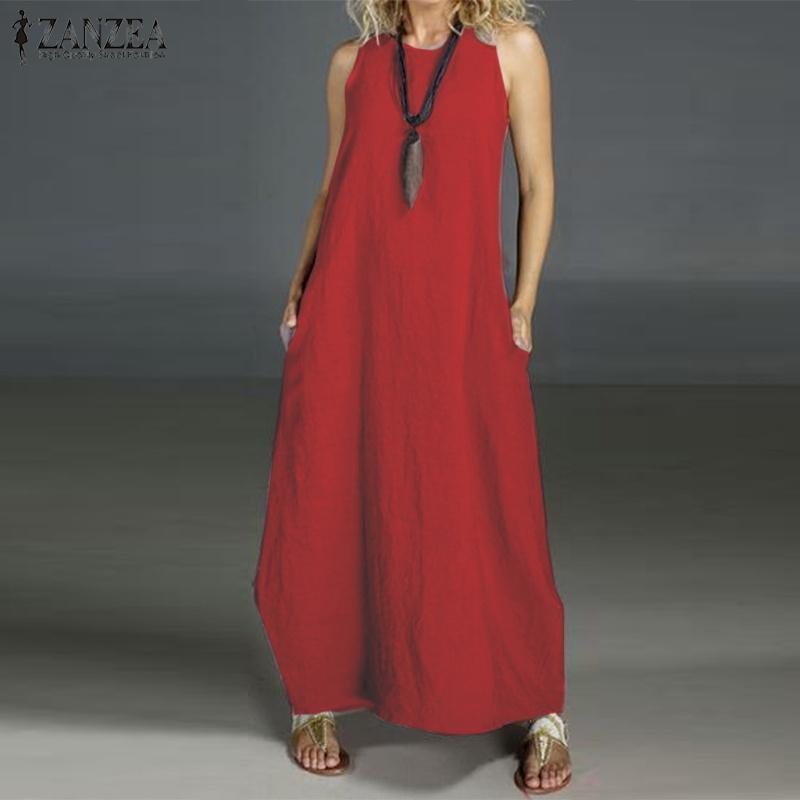 Zanzea kadın Yaz Elbise Uzun Maxi Vestidos Artı Boyutu Elbise Femme Beach Party Elbiseler 5xl Y19070901