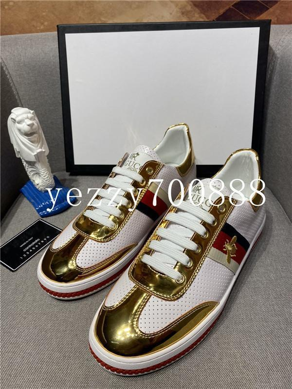 2020 мод роскошных классических ботинок плоских кожаных тренеры мужчины вскользь платье обуви спортивной обуви роскоши пчела дизайнер кожа fdzhlzj