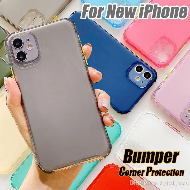 TPU Bumper Phone Case For iPhone SE 2 11 Pro Max Xs Max Xr 8 Plus Half Transparent Matt Color Botton Cover Housing