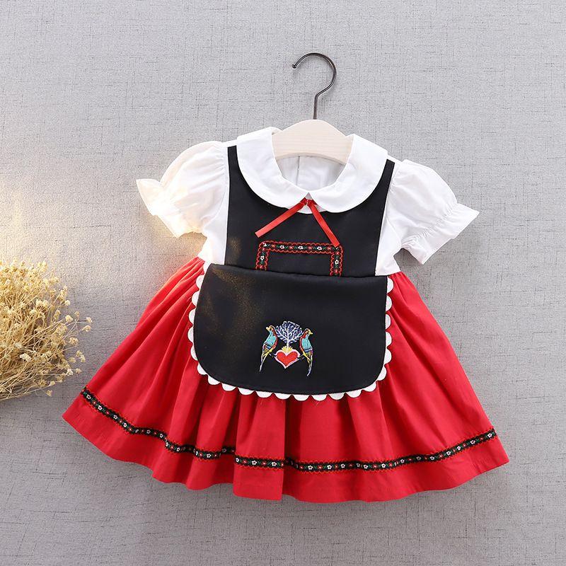 Baby Girls Bird Вышивка для вышивки Платье для вечеринки 2020 Новые Детские Луки Отворотный Отворотный Слоенный Коротким Рукавом Платье Принцессы Детская Одежда A2526