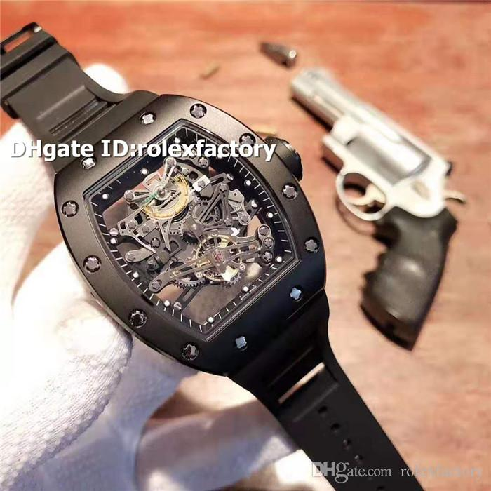 스테인레스 스틸 RM38 -01 해골 자동 스위스 블랙 남성 시계 스플라인 나사 블루 고무 스트랩 토노 빛난 스포츠 시계 2 색