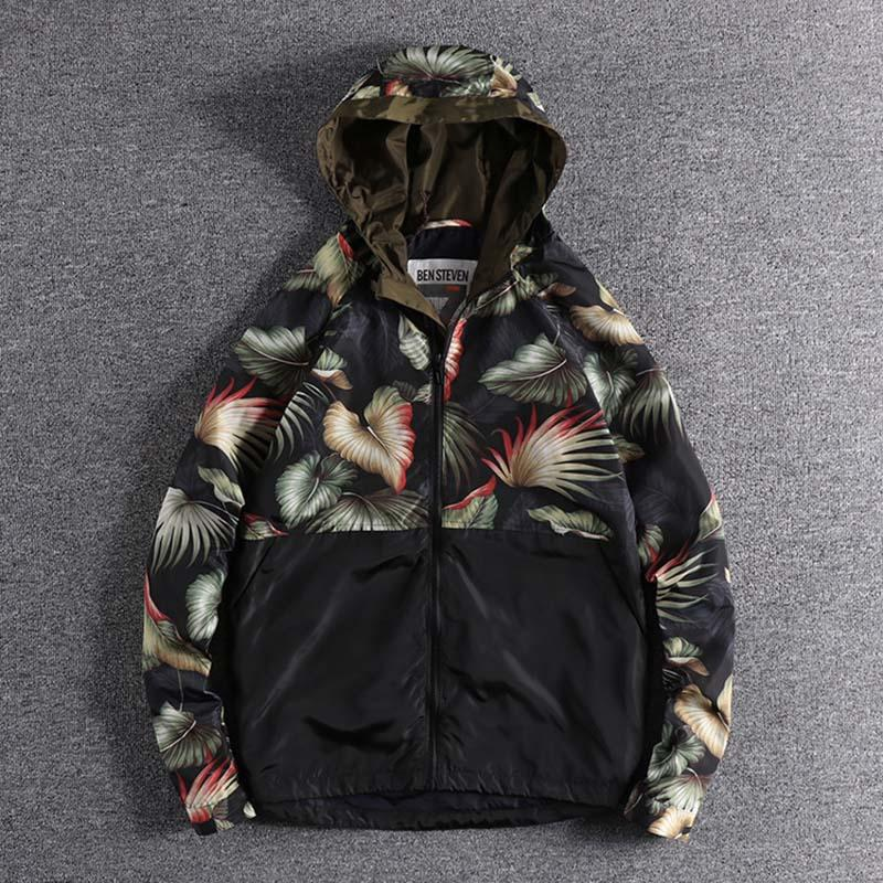 2019 Fashion splicing flower print autumn and Winter Youth high quality men's windbreaker coat outerwear for promotion wholesale