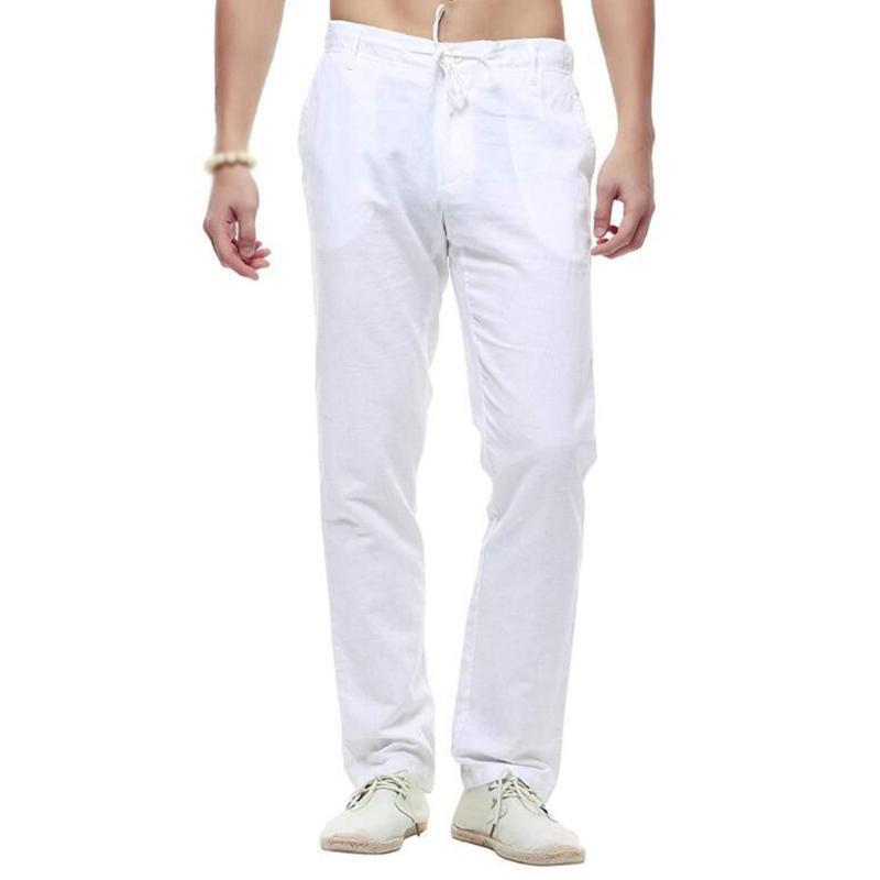 Dünne Hosen-Hose-Baumwolle Leinen lose lange Baggy gerade Hosen der Männer