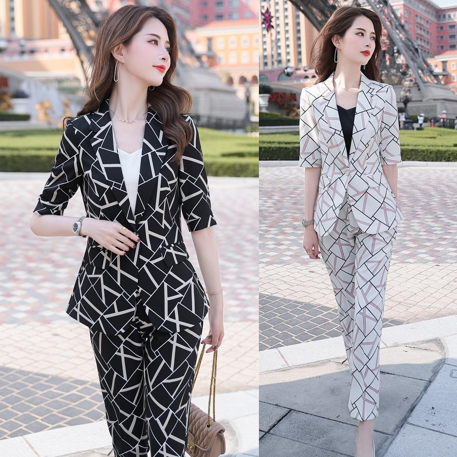 Мода Повседневная Дамы печати Blazer для деловых женщин Костюмы с Pant и куртки Комплекты Костюмы женские брючные Одежда рабочая одежда
