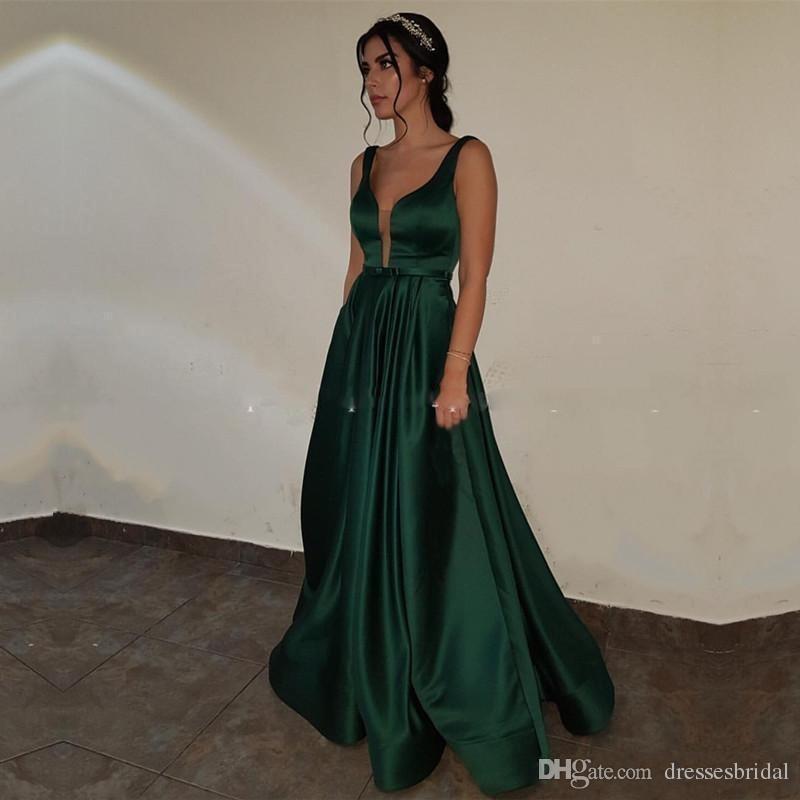 Compre Vestidos De Noche Elegantes Y Sencillos Con Bolsillos Con Cuello En V Longitud Del Piso Satén Verde Vestido De Fiesta De Noche Formal Vestidos