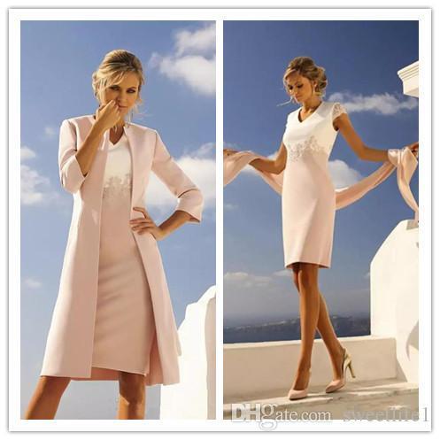 2020 Elegant Satin Long Sleevse Mother of the Bride Dress Suits Knee Length Wedding Wear Sheath Mothers Dresses Custom Made