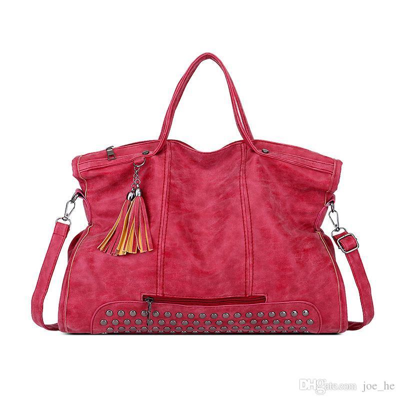 Designer-Vintage Trends Women Handbags Female Studded Large Capacity PU Leather Shoulder Bag Handbag Tote Purse Ladies Satchel Travel Bag