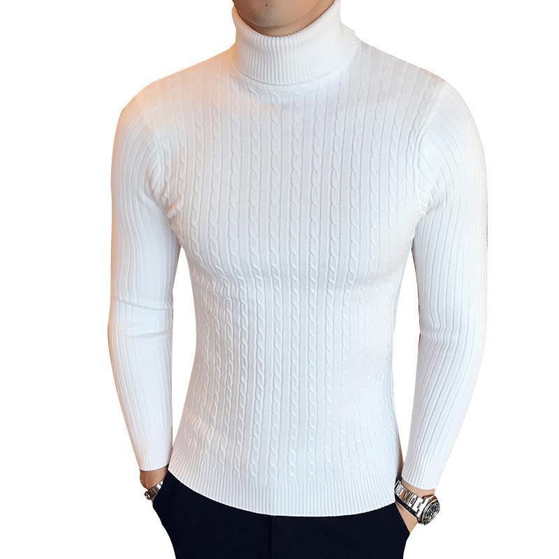 Gola alta para Knitwear Pull Homme Men algodão fino Camisolas Colarinho alto pulôver Male Jumper camisola dos homens de Turtle Neck
