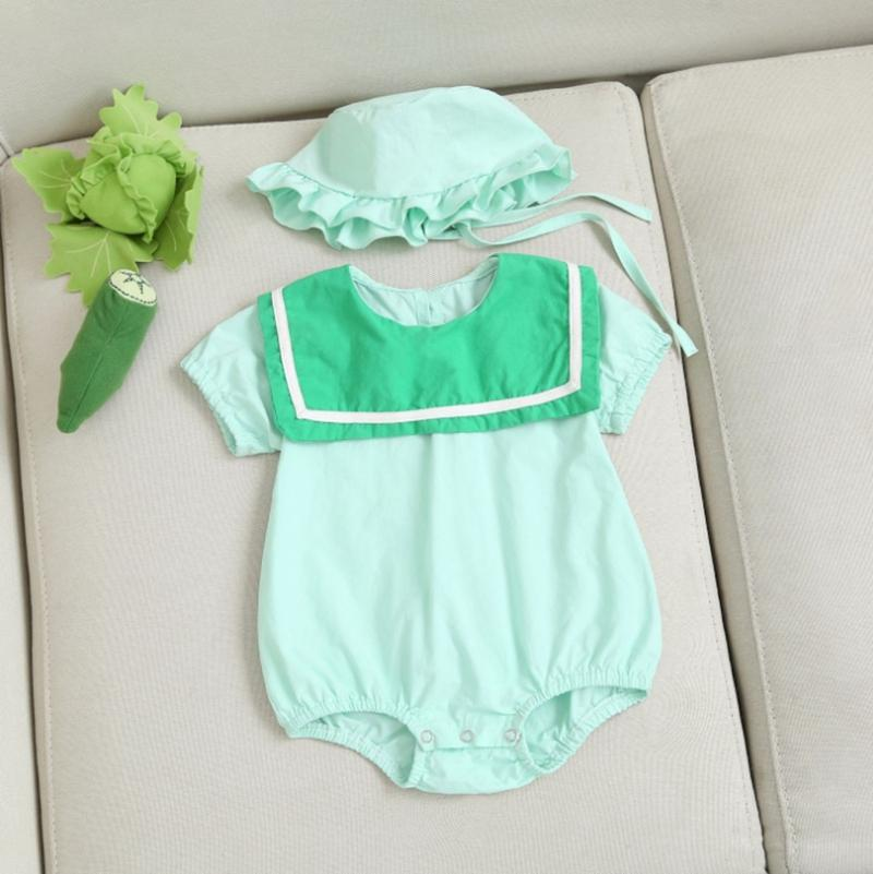 Bebek Kız Giyim INS Coton Bebek Tulumu Şapka 2PCS Katı Renk Bebek Tulumlar Kısa Kollu Bebek Giyim Butik Giyim YW3464Q ayarlar