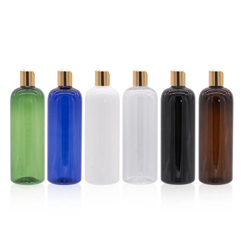 Altın Disk Cap PET Doldurulabilir Vücut Kremi Şişe 500cc Losyon Krem Konteyner ile Plastik Şampuan Losyon Krem Şişe Boş 500ml