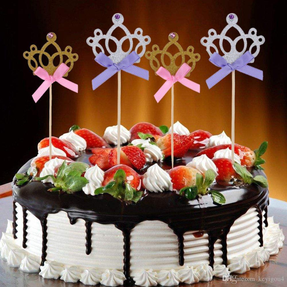 Pleasing 20 Pack Crown Birthday Cake Topper Princess Cupcake Toppers Picks Birthday Cards Printable Benkemecafe Filternl