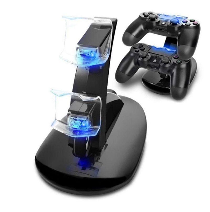 Denetleyici Şarj dock LED Çift USB PS4 Şarj Sony Playstation 4 PS4 / PS4 Pro / PS4 İnce Kontrolörü için İstasyon Cradle Standı