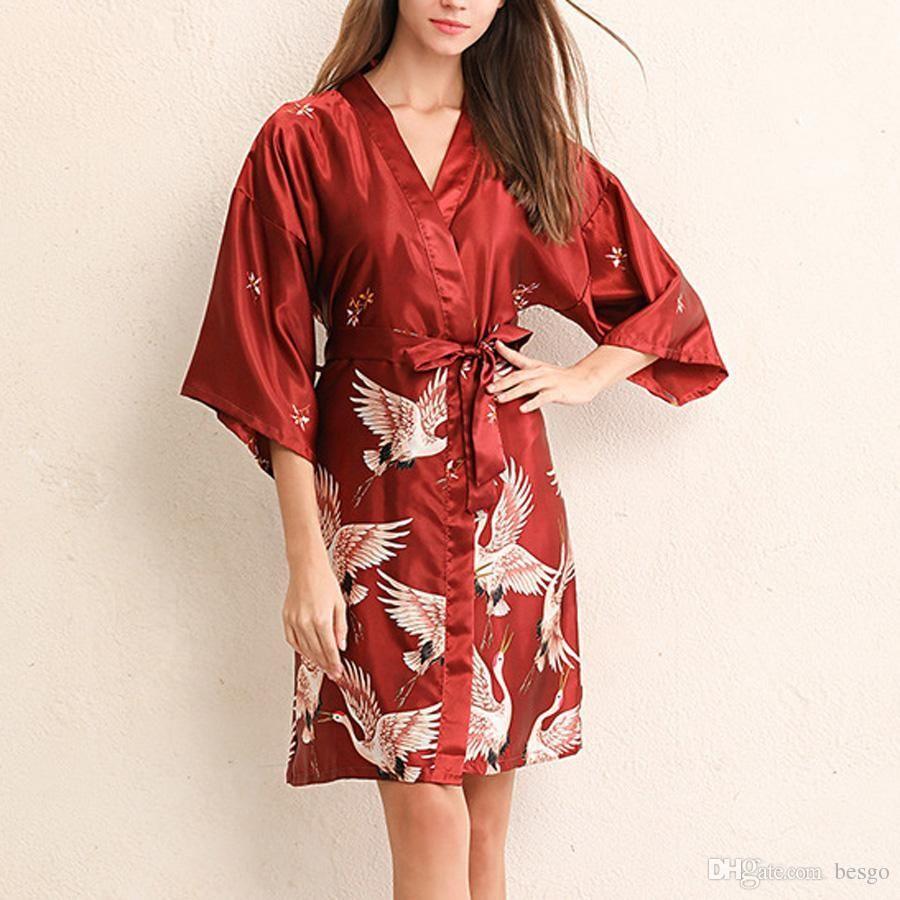 Mujeres sexy con cuello en v Tracksui suelta Kimono impresión flor pijamas túnica de imitación de seda ropa de dormir con cinturón Inicio ropa 4 colores DH0670