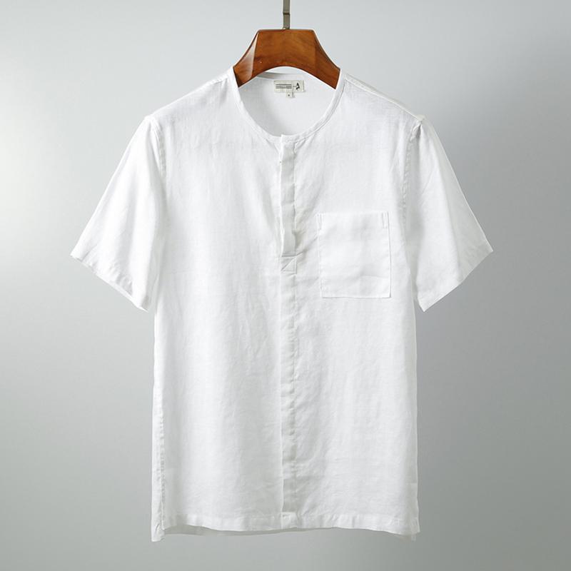 % 100 Keten Kısa Kollu Gömlek Erkekler 2020 Yaz Yakasız Katı Beyaz Haki Casual Kazak Gömlek