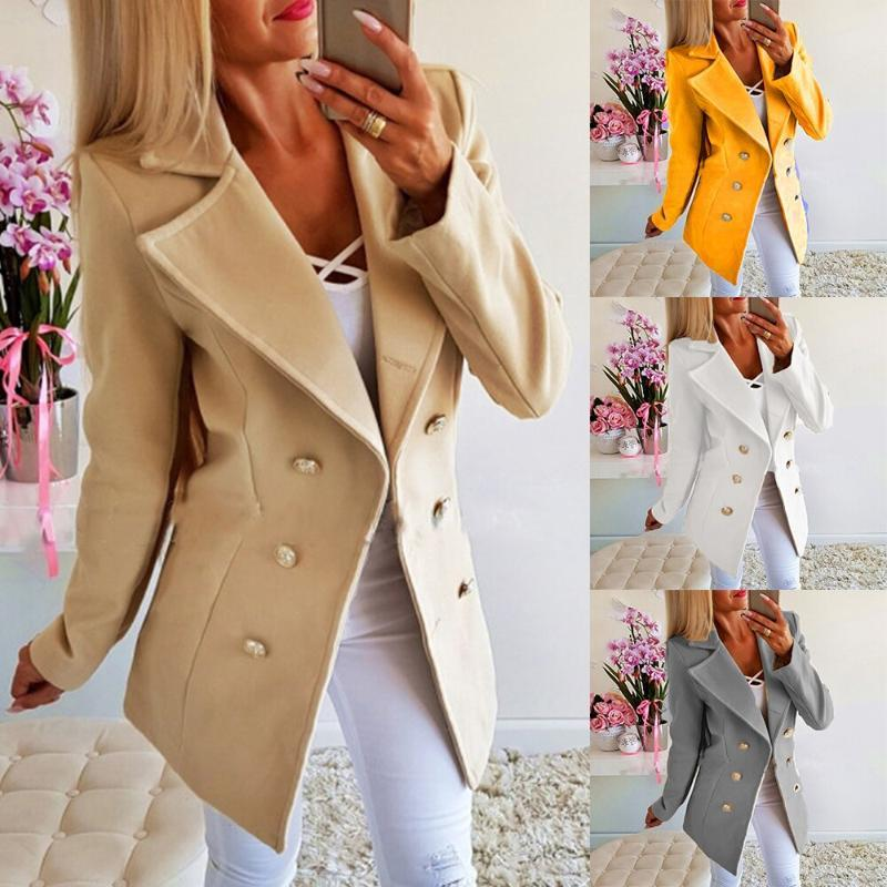 HEFLASHOR Women Casual Wool Jackets Autumn Double Breasted Vintage Office Lady Dress Coats Slim Solid Jacket Outerwear Femme