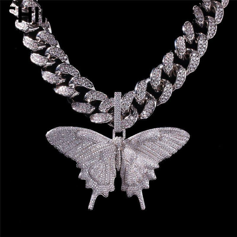 Iged خارج الحيوان فراشة كبيرة قلادة قلادة الفضة الأزرق مطلي رجل الهيب هوب بلينغ مجوهرات هدية بالجملة