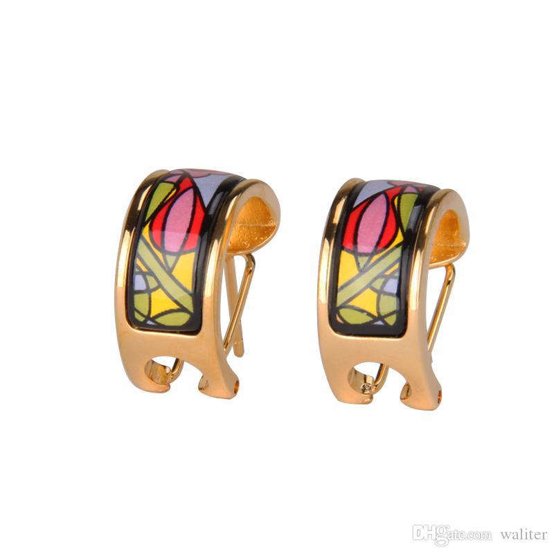 Sueño Jardín Serie pendiente del aro de 18 quilates pendientes de esmalte chapados en oro para mujer Top avanzadas pendientes de aro de diseñador de producción