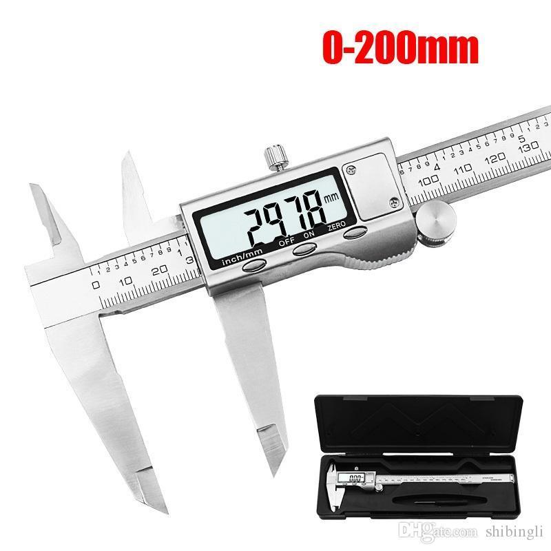 """8"""" 200 milímetros de aço Digital Caliper inoxidável Digital LCD Caliper Vernier Caliper envio com Retail + Box"""