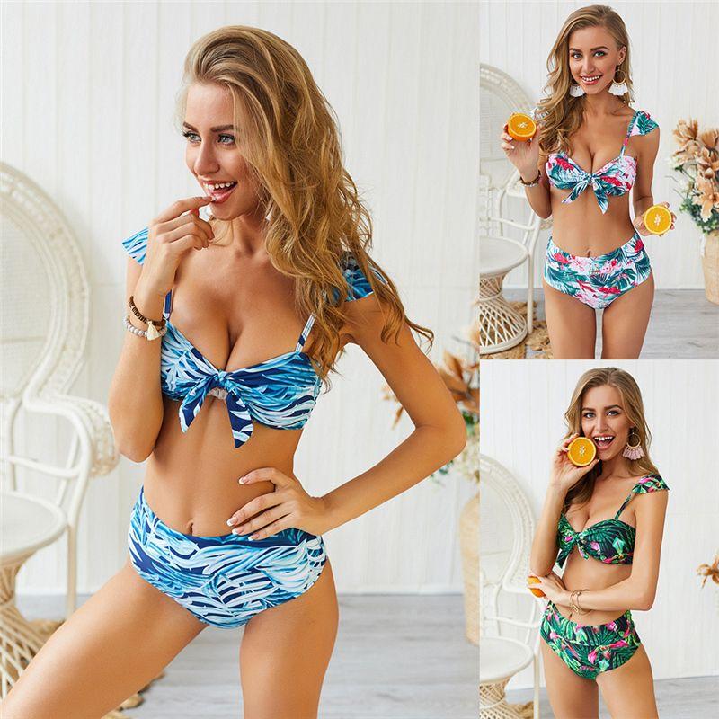 Femme Maillots de bain imprimé floral brésilien Costumes Deux Pièces Femmes Eau Vêtements de sport Femme Équipement natation bretelles spaghetti Bikinis