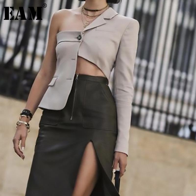 [eam] 2019 Nuovo autunno inverno bavero manica lunga taglio irregolare scava fuori giacca personalità personalità cappotto moda marea Js707 Y190830