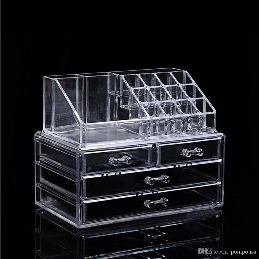 La fonction transparente de stockage de présentoir acrylique d'étagère multifonctionnelle de couleur multi de trois couches montrant, composent le conteneur d'outils d'art de clou